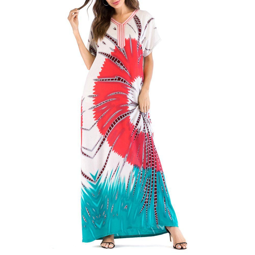 1262cd8c3b8 Comfortable Casual Floral Printing Long Summer Dress Middle East Caftan -  3xl