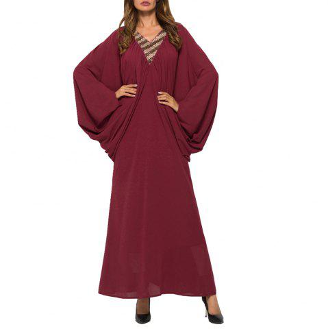 Elegant Bat-Wing Sleeve Long Dress Robe with Good Quality