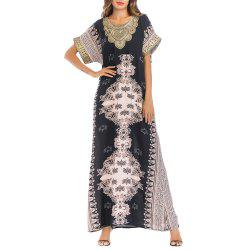 Embroideried Floral Printing Round Neck Long Dress Middle East Arab Robe -
