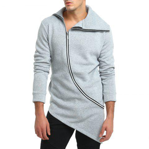Fashionable Solid Color Zipper Mens Hoodie Casual Coat