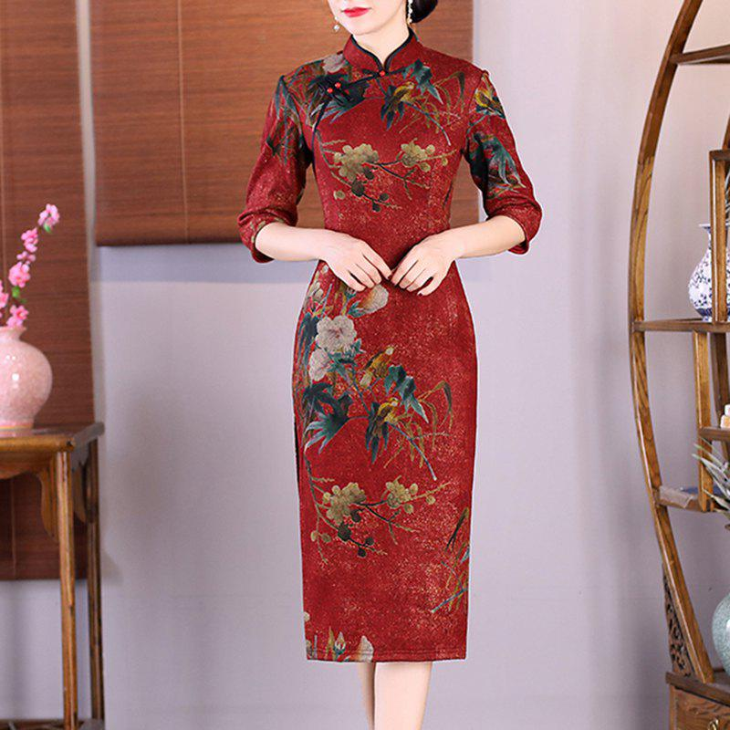 8f0862e541 Chinese Style Aristocratic Fans Hand-Embroidered Fashion Cheongsam - Xl