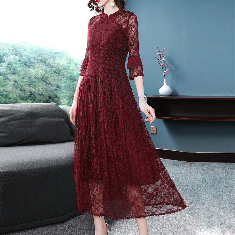 Best Fashion Slim Pleated Middle Length Dress