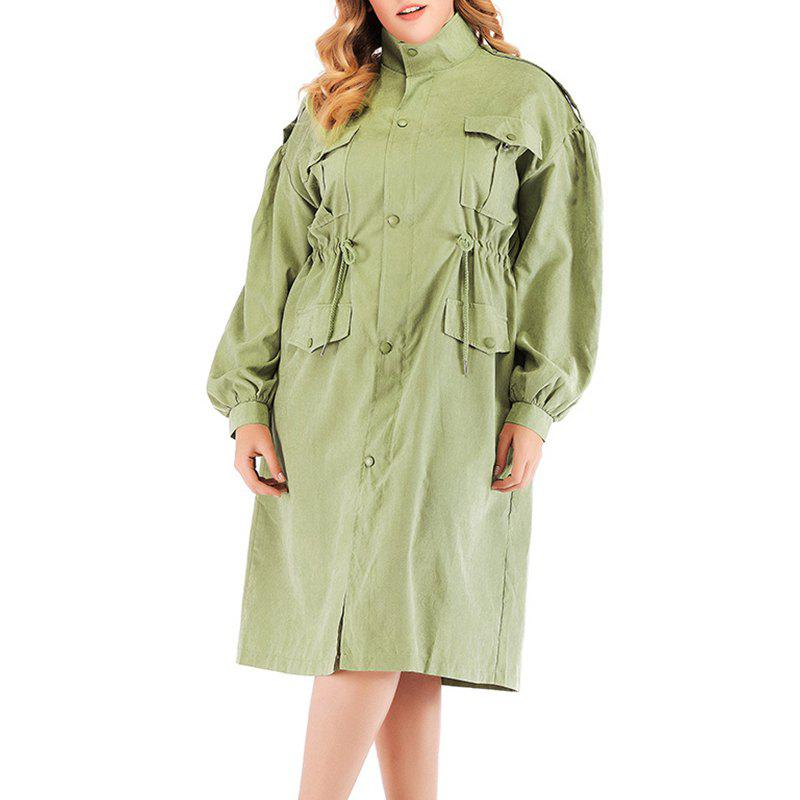 Discount Solid Color Drawing String Single Breasted Trench Coat