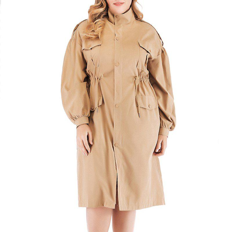 Shop Solid Color Drawing String Single Breasted Trench Coat