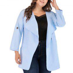 Solid Color Lapel Loose Trench Coat -
