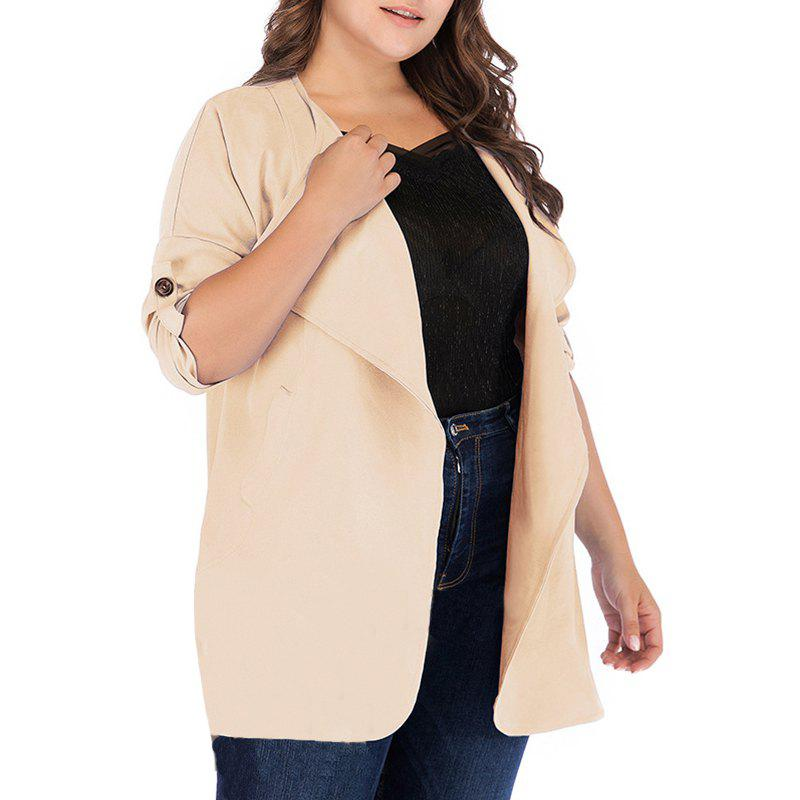 Outfit Solid Color Lapel Loose Trench Coat
