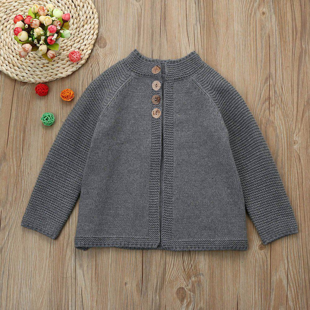 27faa6ae4197 2019 Girls Solid Color Sweater Z Knit Cardigan Jacket Grey Round ...