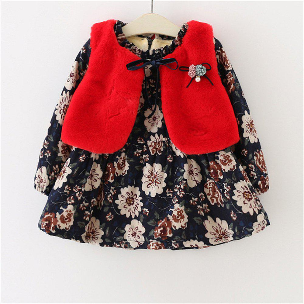 7af689ef72 Outfits 2019 Baby Girls Clothes Long-Sleeved Floral Plus Velvet Dress+Fur  Vest 2PCS