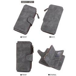Long Frosted Fabric Hasp Women'S Bag Multi-Card Mobile Women'S Wallet -