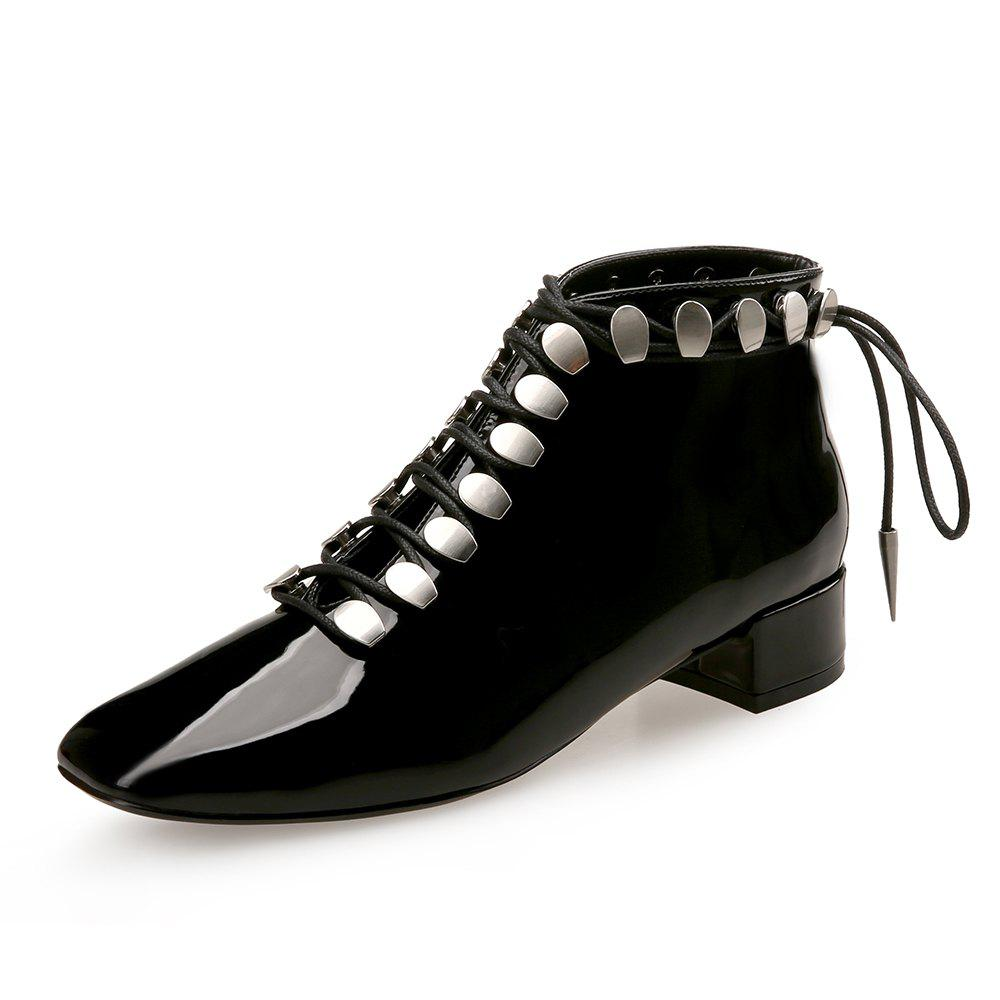 ac11b9ef549 Short Boots Patent Leather Thick Heel Square Head Strap Women S Boots -  Black - Eu 37