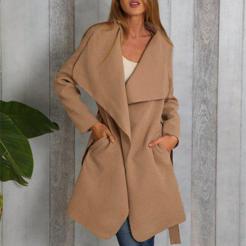 928b08358ecd4 Women s Wide Lapel Pocket Solid Color Fashion Loose Long Woolen Coat