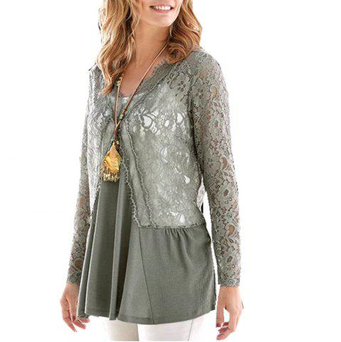 Women's V Neck Solid Color Lace Patchwork Casual Long Sleeve Swing Tops T-shirt