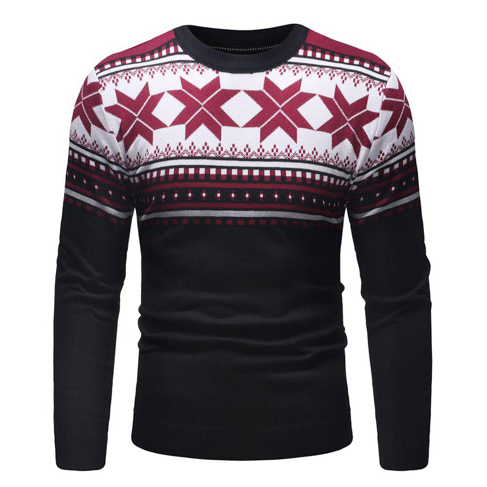 Outfit Men's Fashion Polygonal Pattern Casual Slim Long Sleeve Sweater