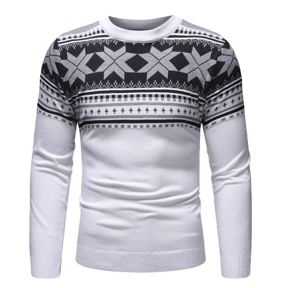Affordable Men's Fashion Polygonal Pattern Casual Slim Long Sleeve Sweater