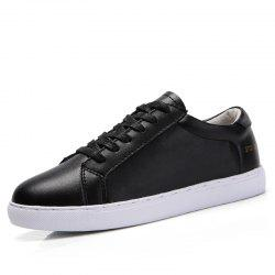 Women Classic Trend Thick-Soled PU Leather Lace Casual Skate Shoes -