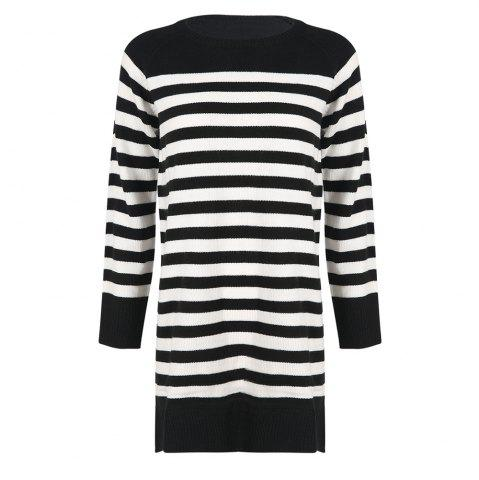 HAODUOYI Women's Fashion Casual Striped Pullover Knit Dress Multicolor