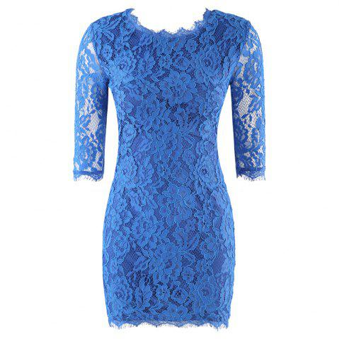 HAODUOYI Women'S Embroidered Hook Flower Lace Backless Lace Dress Blue