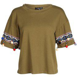 HAODUOYI Women'S Stylish Solid Color T-Shirt Green -
