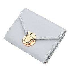 Women'S Short Wallet Solid Color Buckle Simple Wallet Multi-Function Wallet -