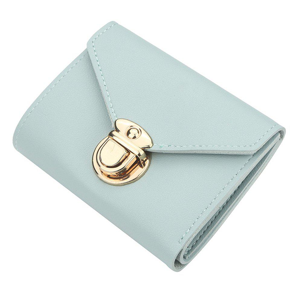 Discount Women'S Short Wallet Solid Color Buckle Simple Wallet Multi-Function Wallet