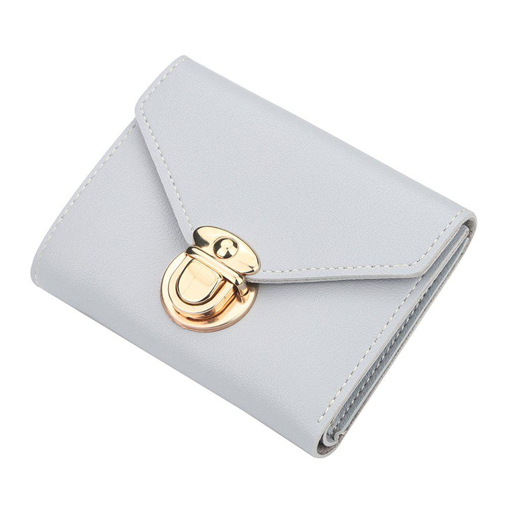 Outfit Women'S Short Wallet Solid Color Buckle Simple Wallet Multi-Function Wallet