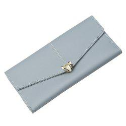 New Ladies Long Wallet Three Fold Zipper Buckle Soft Leather Solid Color Clutch -