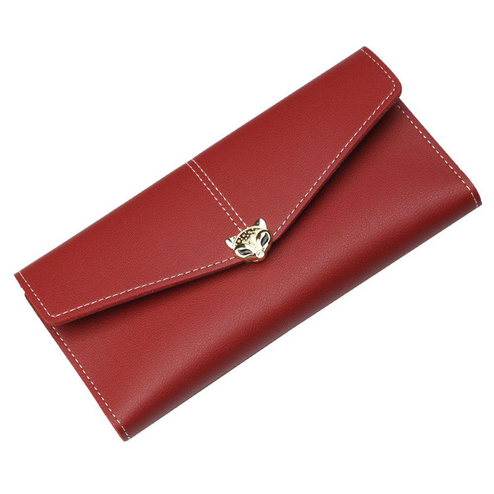 Outfit New Ladies Long Wallet Three Fold Zipper Buckle Soft Leather Solid Color Clutch