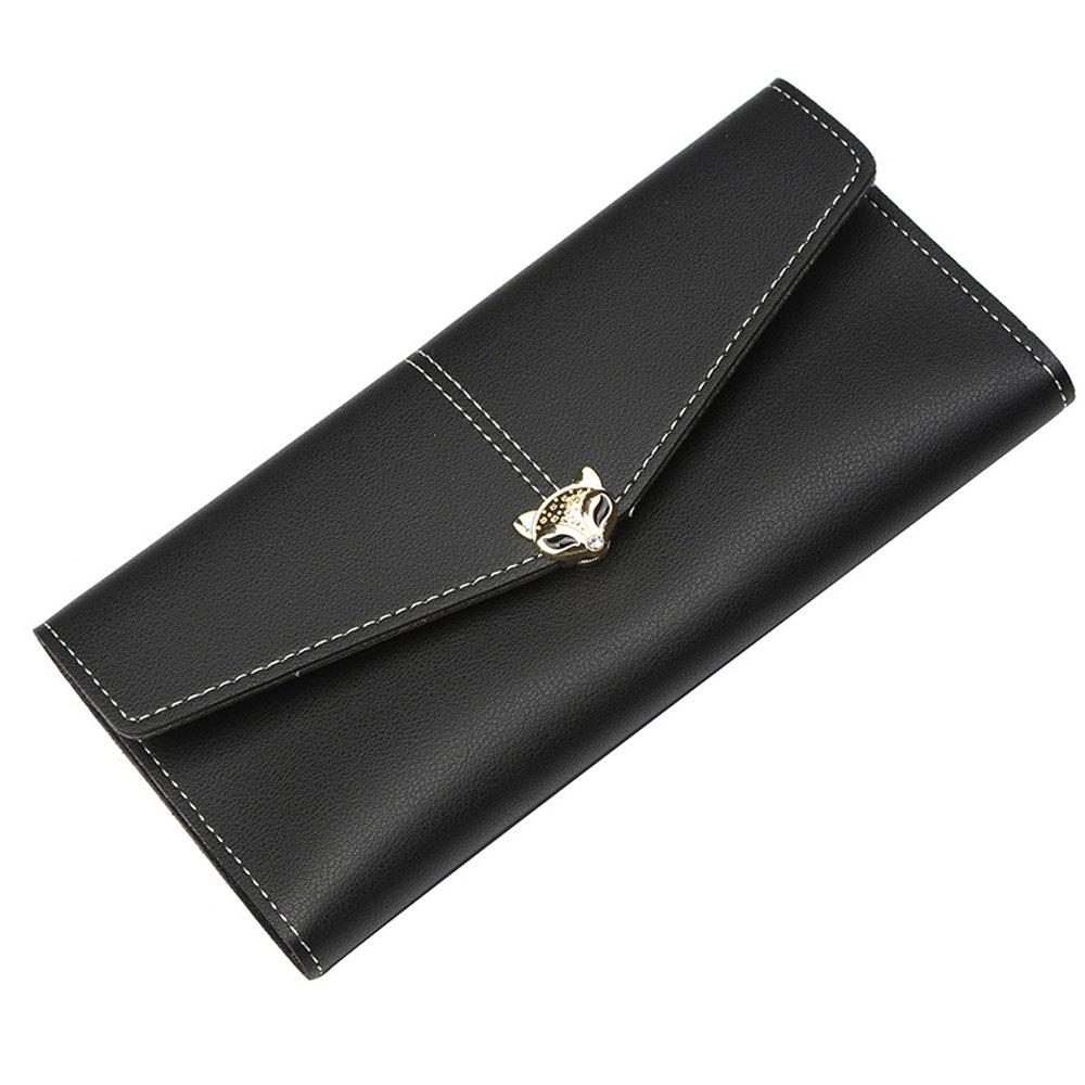 Chic New Ladies Long Wallet Three Fold Zipper Buckle Soft Leather Solid Color Clutch