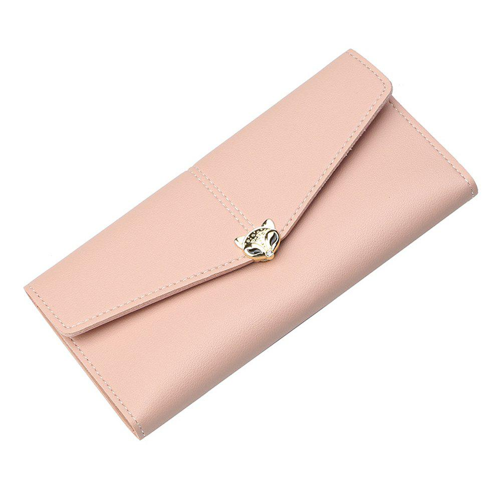 Best New Ladies Long Wallet Three Fold Zipper Buckle Soft Leather Solid Color Clutch