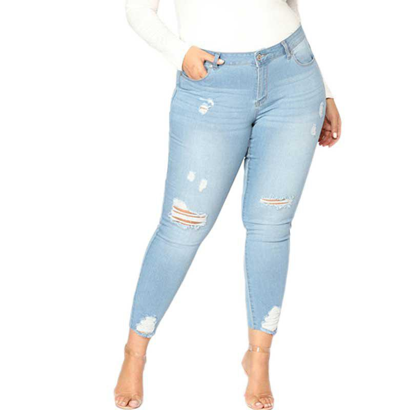 Best Extra Large Size Fashion Holes and High Stretch