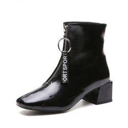 Autumn and Winter New Front Zipper Boots Fashion Thick Heels Boots -