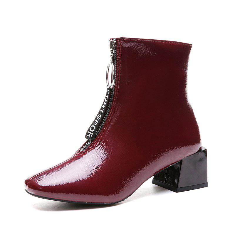 Fancy Autumn and Winter New Front Zipper Boots Fashion Thick Heels Boots