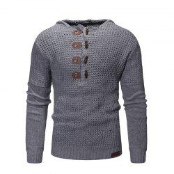 Men'S Hooded Solid Color Sweater -
