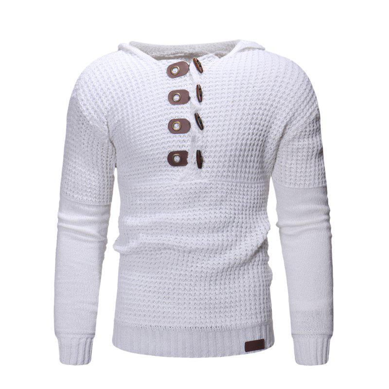 Trendy Men'S Hooded Solid Color Sweater