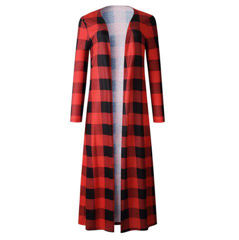 Women Long Sleeve Open Front Plaid Casual Thin Cardigan Long Outwear Tops