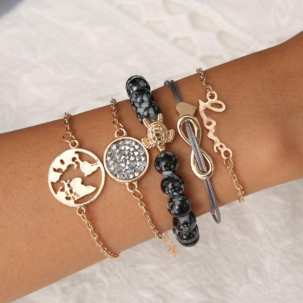 5 PCS/Set Boho Earth   Heart Multilayer Bracelets for Women Crystal Charm