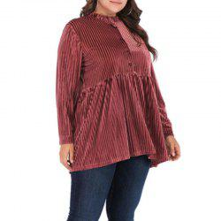 Solid Color Hollow Out Elestic Blouse -
