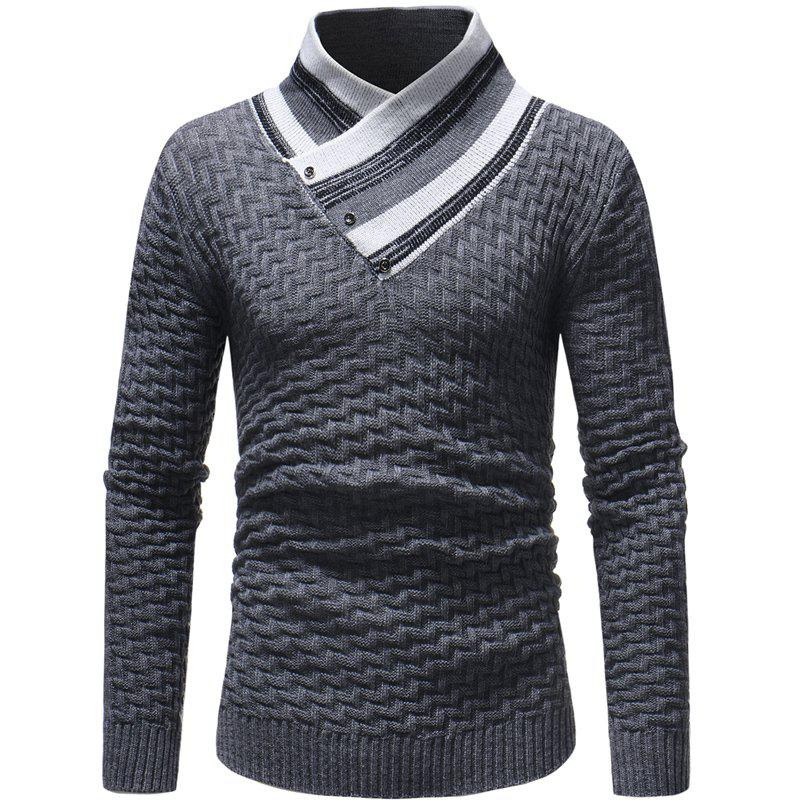 Outfit Men's Fashion Slim Long Sleeved Oblique Collar Sweater