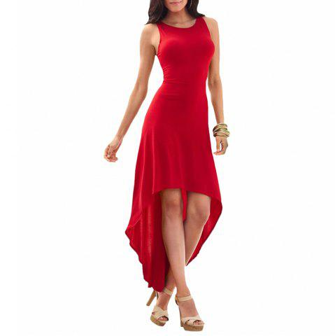 Women's Sexy Solid Colot Backside Cut Out Sleeveless Irregular Dovetail Dress