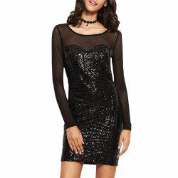 Sexy Mesh Patchwork Sequin Cut Out Perspective Bodycon Club Backless Black Dress -