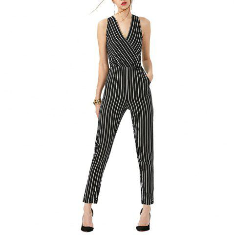 Sexy Striped Deep V Neck Backless Cut Out Wild Black Pencil Pants Jumpsuits
