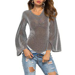 Sexy Round Neck Solid Color Flare Sleeve Sexy Bodysuit Underwear Club Rompers -