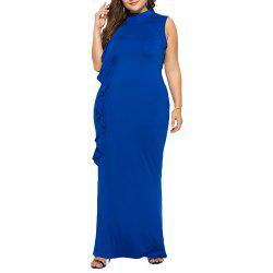 Elegant High Collar Ruffle Side Plus Size Slim Sleeveless Bodycon Evening Dress -