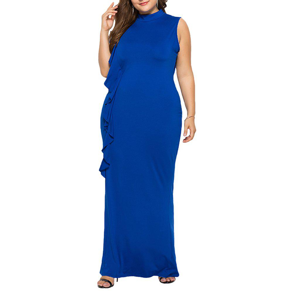 Fancy Elegant High Collar Ruffle Side Plus Size Slim Sleeveless Bodycon Evening Dress