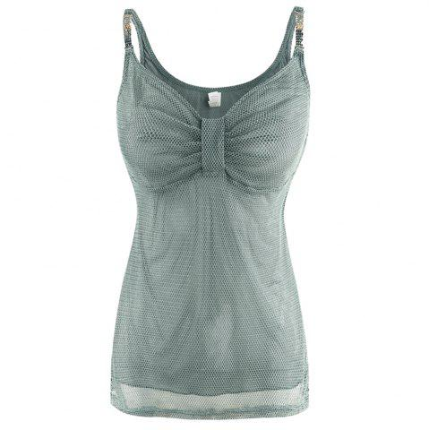 MISSOMO Sexy V-Neck Chest Pleated Solid Color Flower Metal Camisole