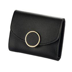 New Buckle Three Fold Small Wallet Ladies Fashion Simple Round Buckle Wallet -