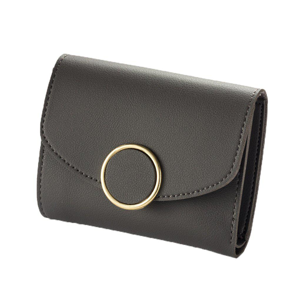 Sale New Buckle Three Fold Small Wallet Ladies Fashion Simple Round Buckle Wallet