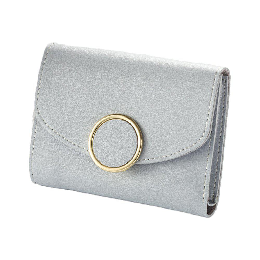 Store New Buckle Three Fold Small Wallet Ladies Fashion Simple Round Buckle Wallet