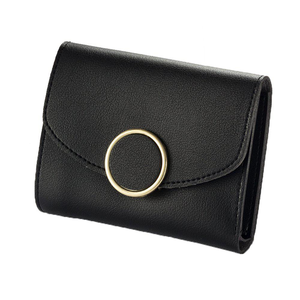 Shop New Buckle Three Fold Small Wallet Ladies Fashion Simple Round Buckle Wallet