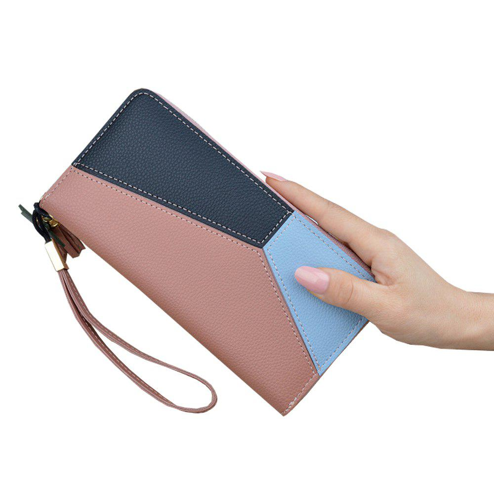 Latest Ladies Long Zipper Fashion New Clutch Bag Stitching Contrast Color Large Wallet